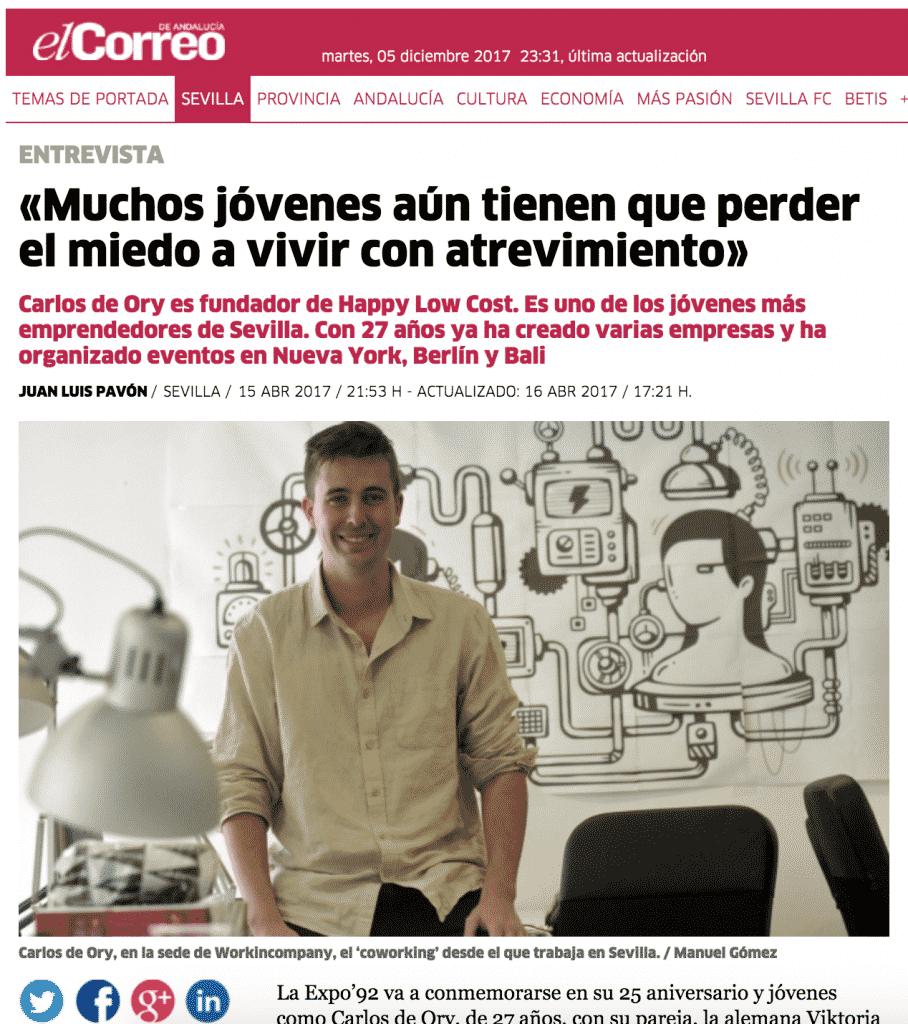 Entrevista en El Correo de Sevilla