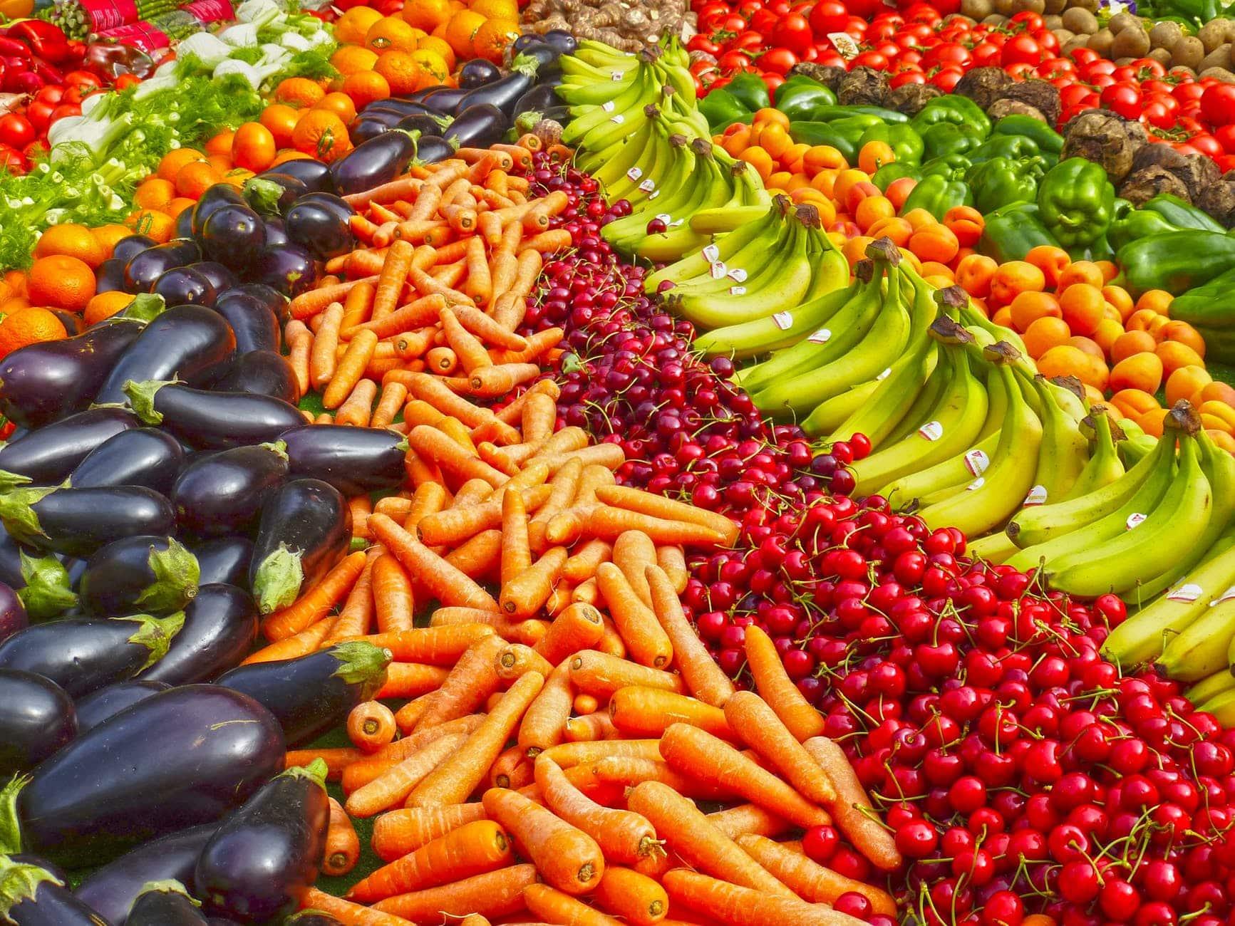 La variedad de frutas y verduras