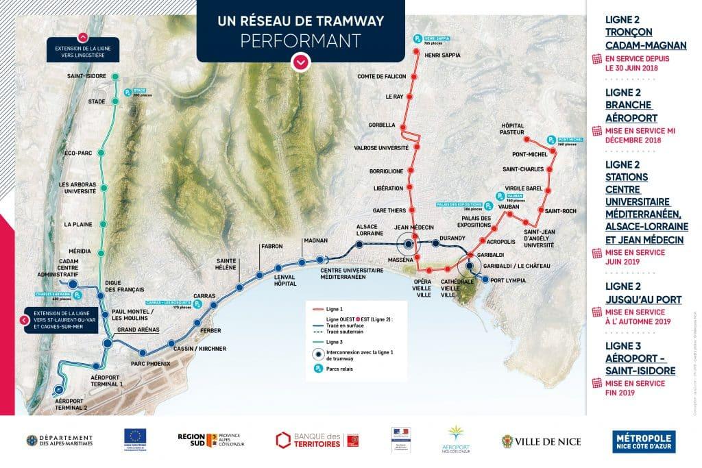 Plano completo de las líneas de tram de Niza