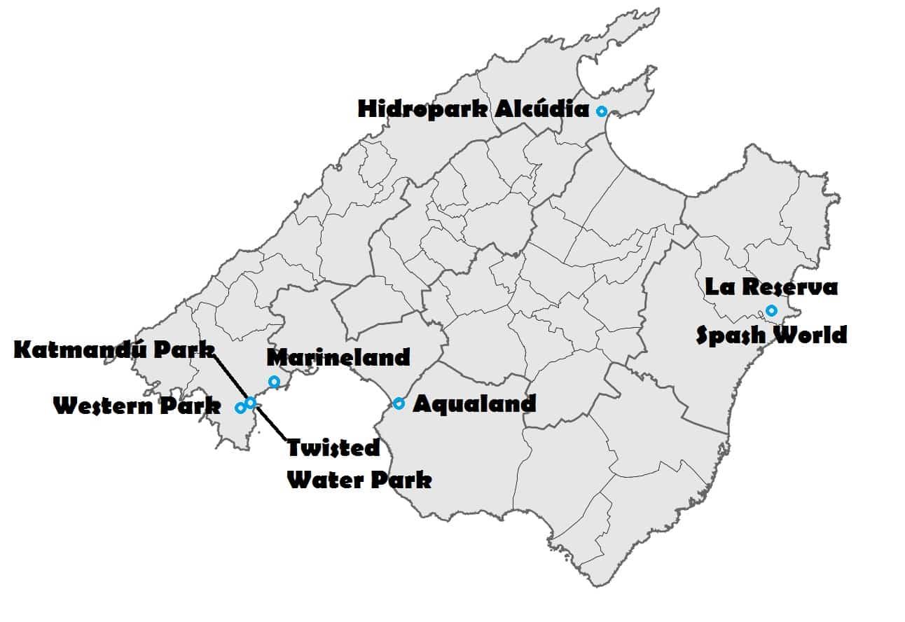 parques acuaticos en mallorca mapa