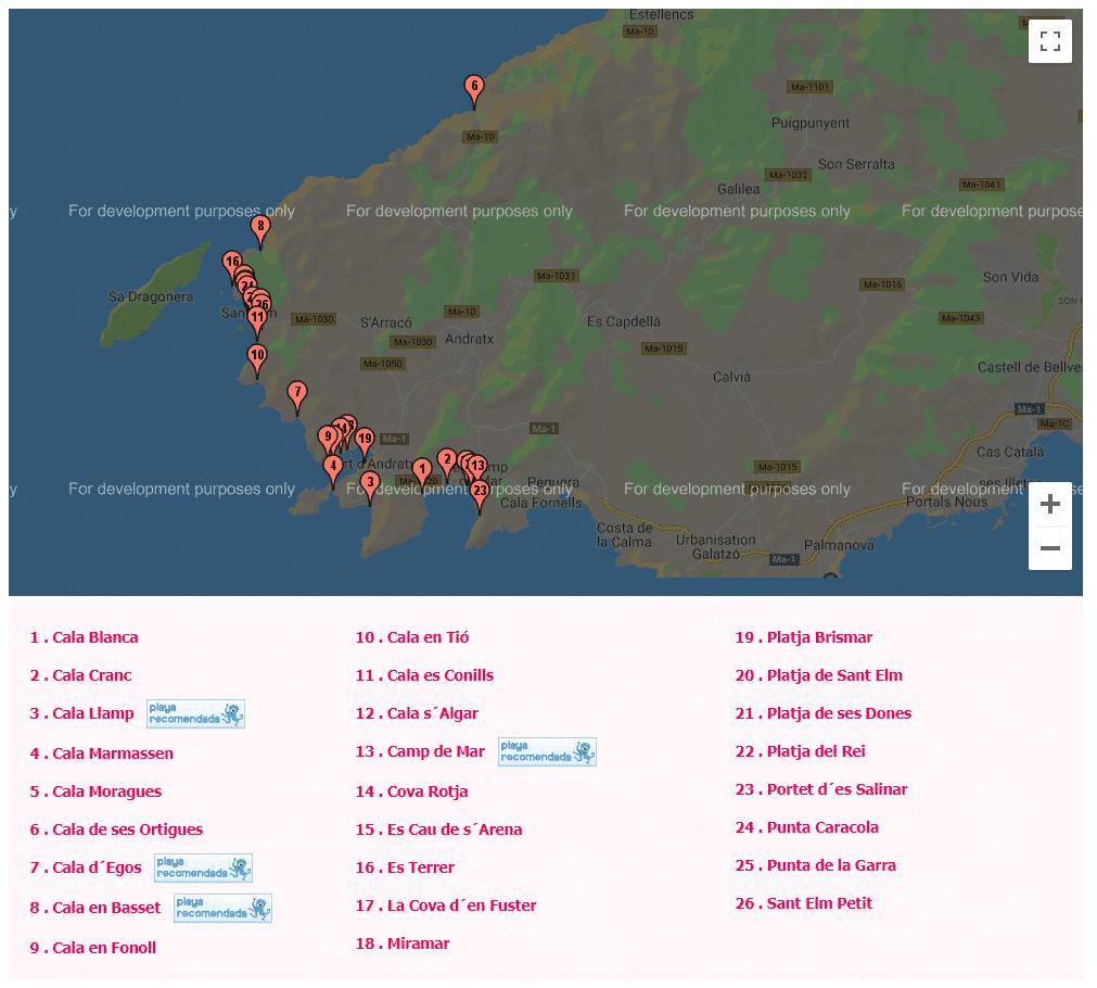 mapa de las calas de mallorca andratx