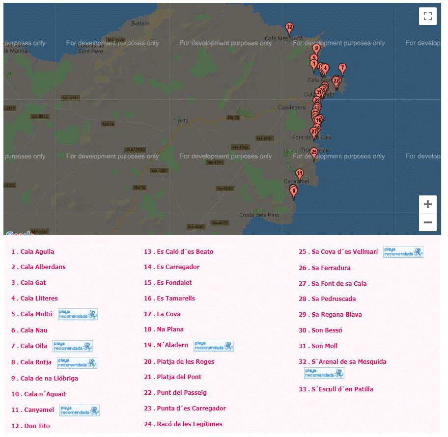 mapa de las calas de mallorca capdepera