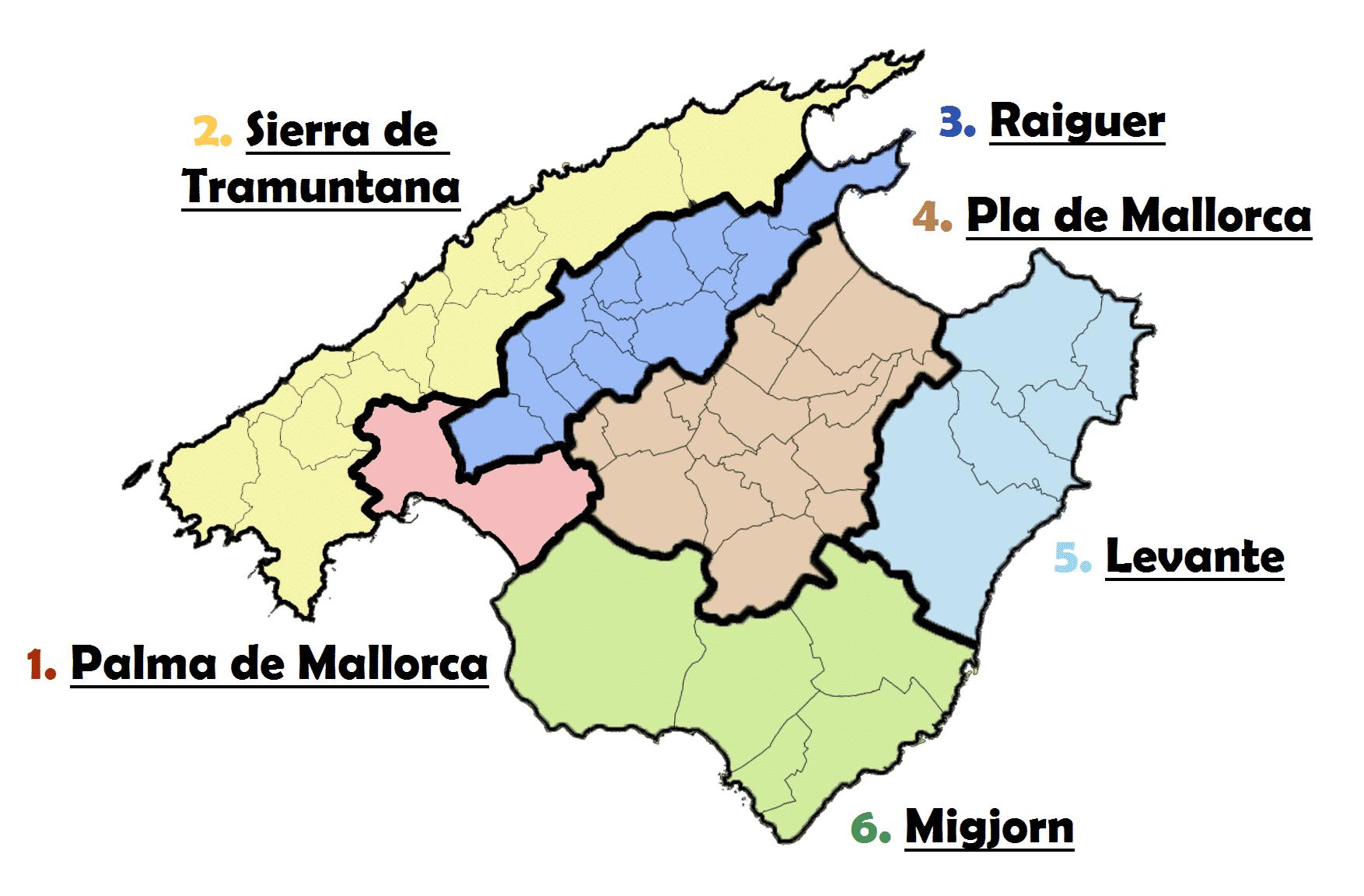 mapa de las calas de mallorca comarcas mallorcaa
