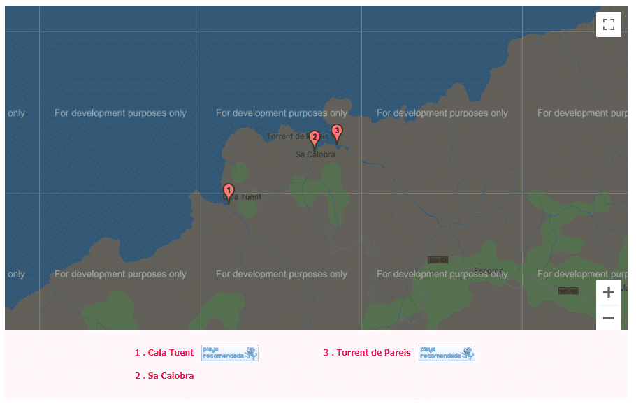 mapa de las calas de mallorca escorca