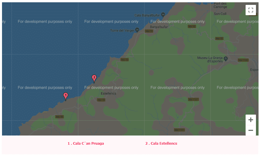 mapa de las calas de mallorca estellencs