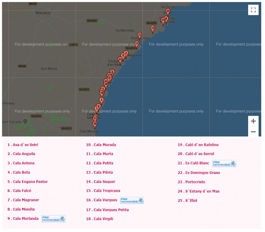 mapa de las calas de mallorca manacor