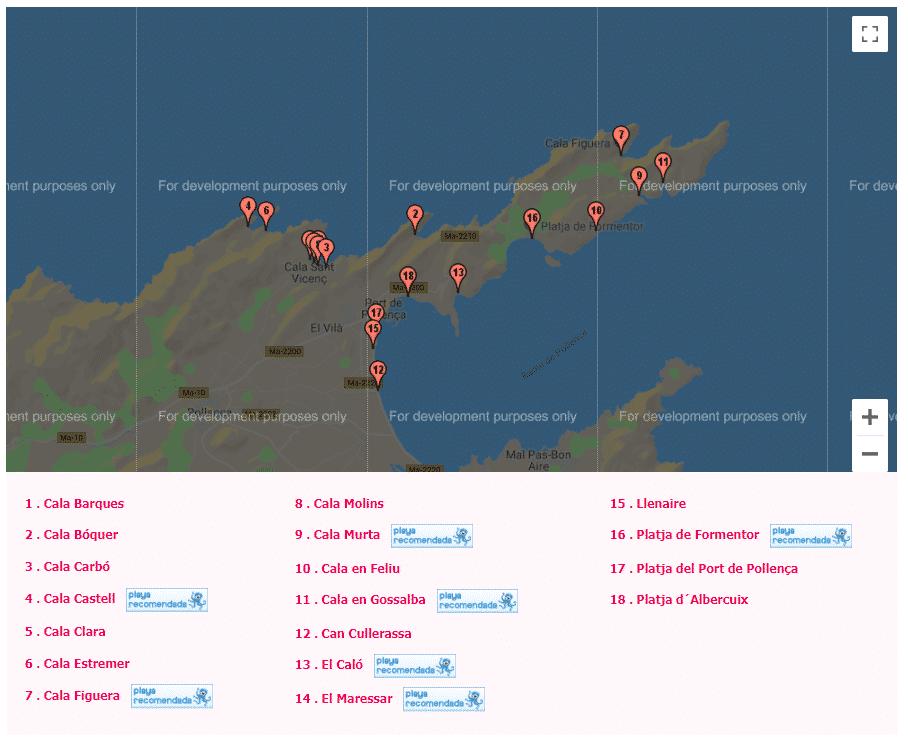 mapa de las calas de mallorca pollensa