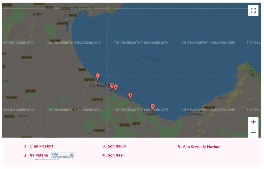 mapa de las calas de mallorca santa margalida