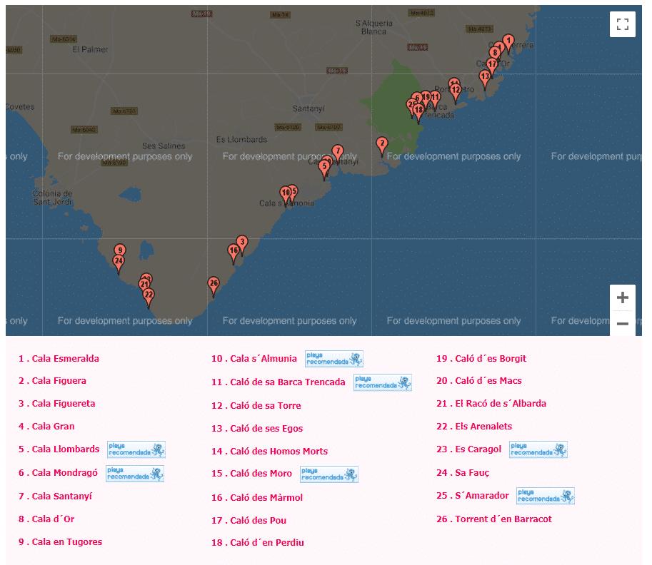 mapa de las calas de mallorca santanyi