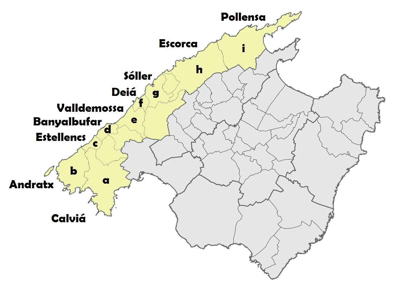 mapa de las calas de mallorca sierra de tramunatana