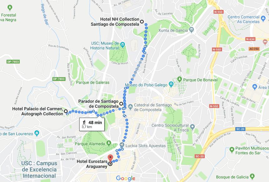 Mapa Hoteles 5 estrellas de Santiago de Compostela