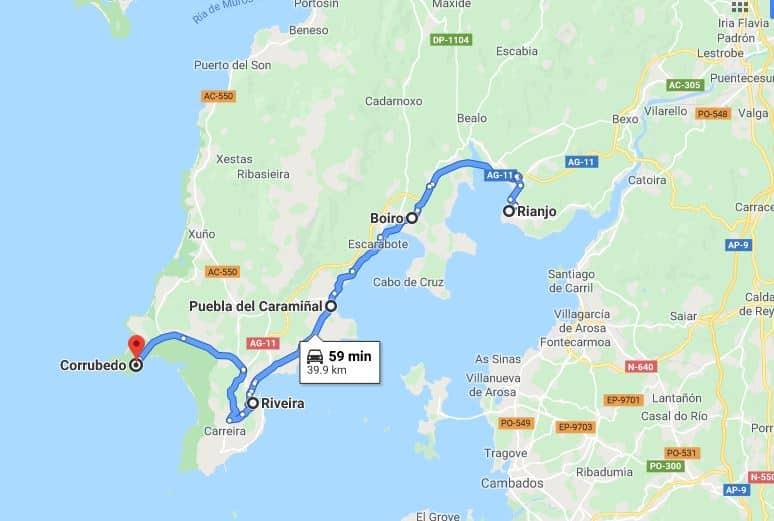 Mapa excursión por la Península del Barbanza