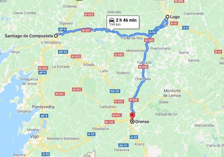 Mapa excursión a Lugo y Ourense