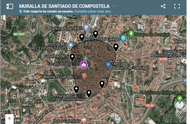 Ruta por las puertas y plazas de Compostela