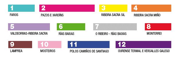 Números y colores de cada uno de los trenes turísticos